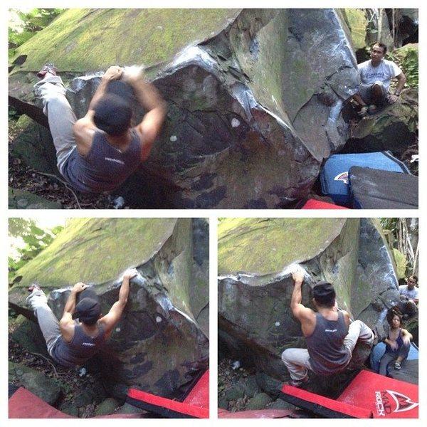 Nuuanu Zombie Boulders, Low traverse V2