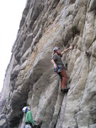 Rock Climbing Photo: Zach begins the redpoint of the handcart prepared ...