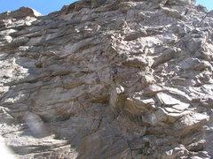 Rock Climbing Photo: Zach leading 2 nd pitch.  Lynn and Horning belayin...