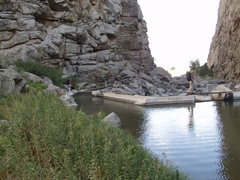 Rock Climbing Photo: Rachael near the diversion canal and Zach is cross...