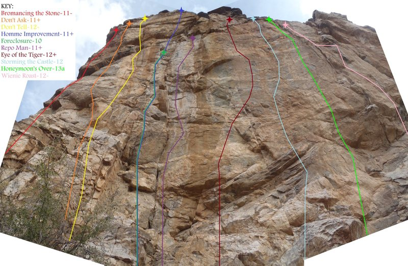 Rock Climbing Photo: Tool Shed: Main Wall Overview (February 2014)