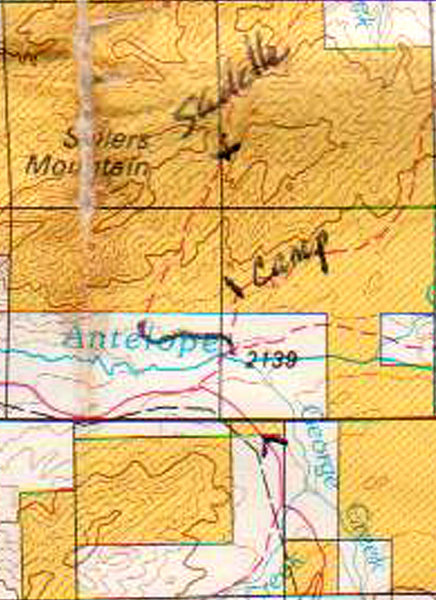 Regional Map for land status south of Sellers Mountain.  Yellowish is BLM public land.