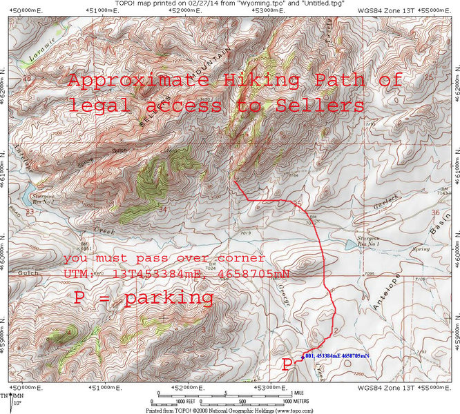 Topo of approximate path needed to legally hike to Sellers Mountain on public land.  The portion of the hike shown on this map is 2.25 miles.  Crossing the exact corner in daylight may be crucial to avoid trespassing issues.
