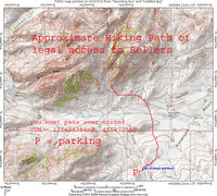Rock Climbing Photo: Topo of approximate path needed to legally hike to...
