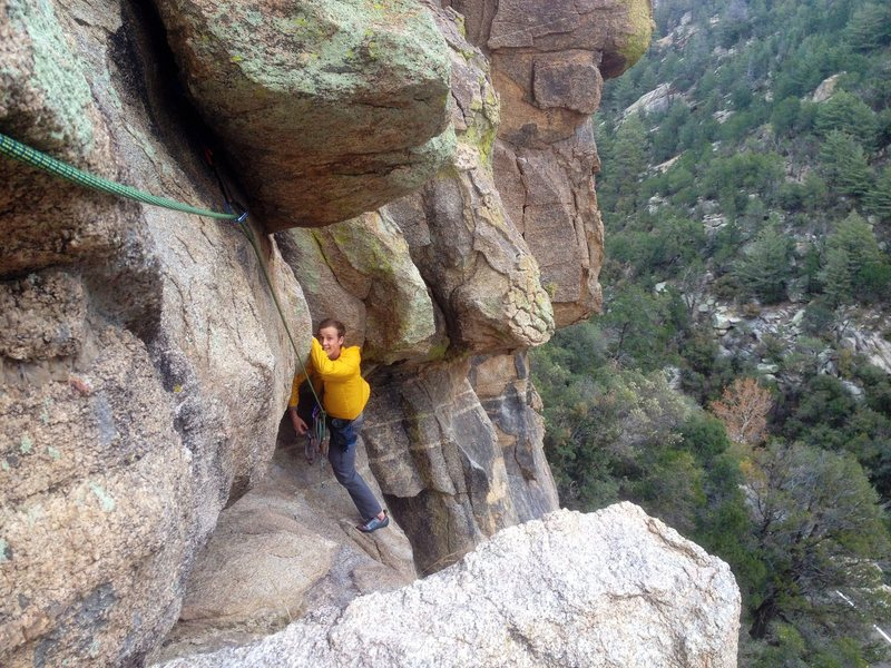 """Rock Climbing Photo: Traverse just before the """"death crawl"""". ..."""