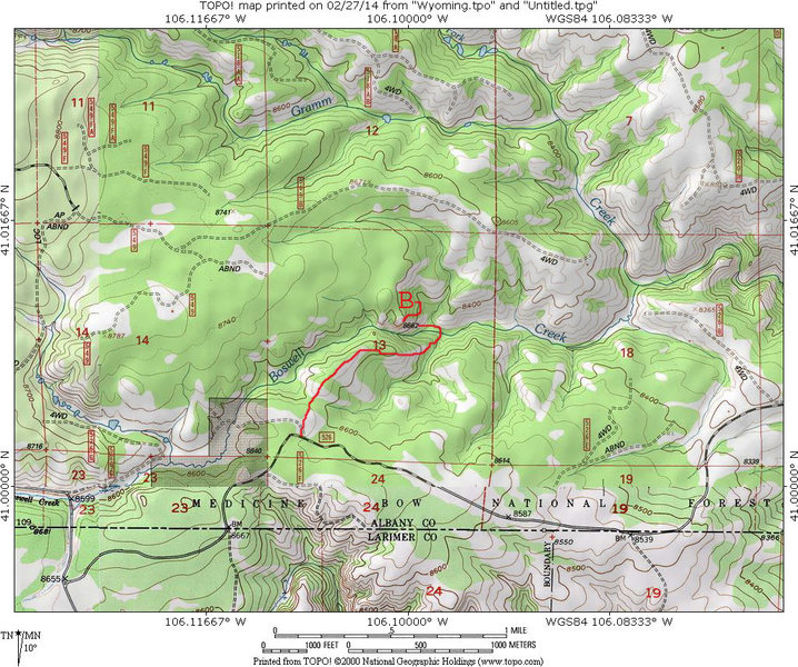 MAP 3:  Suggesting starting point and hikeing path to the Boswell Creek Sherman Granite Dome