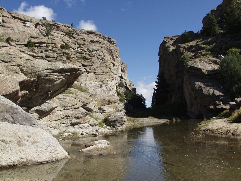 Approaching Devil's Gate from the west with the some necessary crossings of the Sweetwater River.