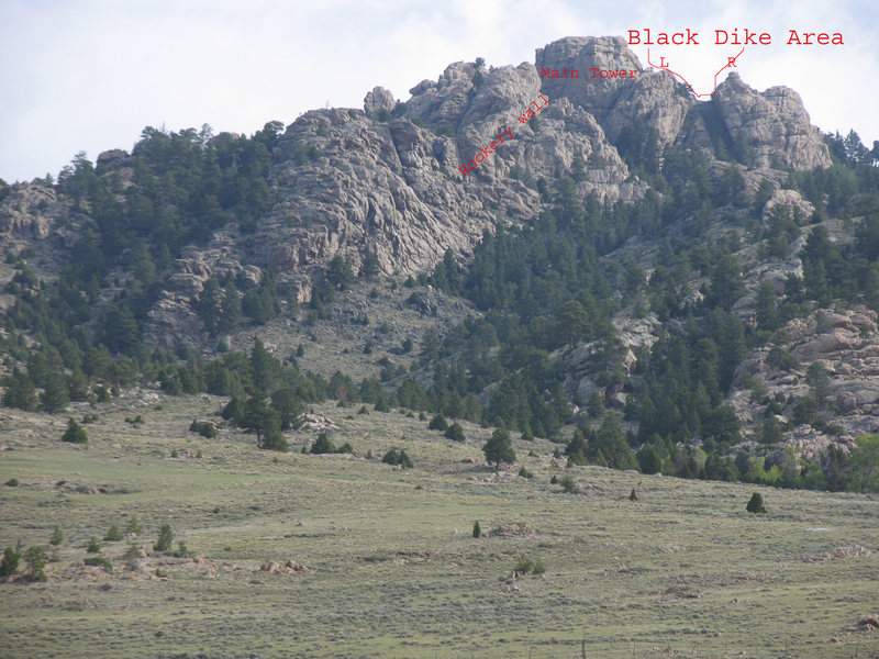 The 3 visible climbing areas of Sellers Mtn