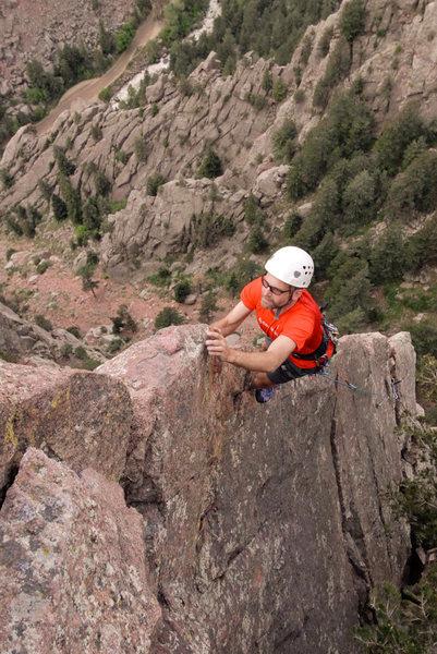 Me climbing Rebuffat's Arete. Photo taken by Terry Murphy.