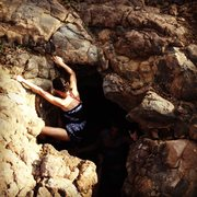 Rock Climbing Photo: Climbing out of a lava tube, 10-20 minutes south o...