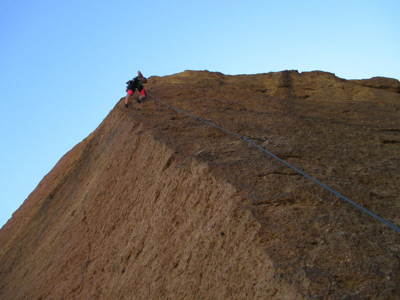 Rock Climbing Photo: Looking up at the super exposed Cry Babies arete