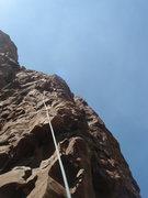 Rock Climbing Photo: John leading Drunk Rednecks with Golf Clubs