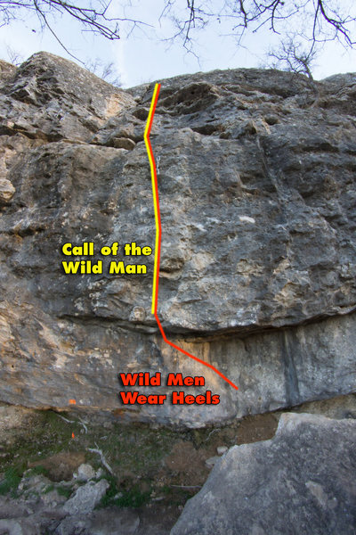 Rock Climbing Photo: Route topo for Call of the Wild Man and Wild Men W...
