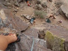 Rock Climbing Photo: John looking down at the belay scene