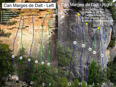 Rock Climbing Photo: Overview topo of Can Marges de Dalt