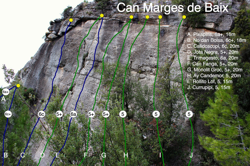 Rock Climbing Photo: Overview of routes at Can Marges de Baix