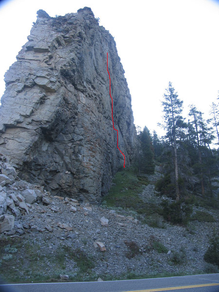 Center Fold is the scantily bolted line right of the center of the east face.