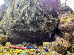 Rock Climbing Photo: Several lines move from under the roof out and up ...