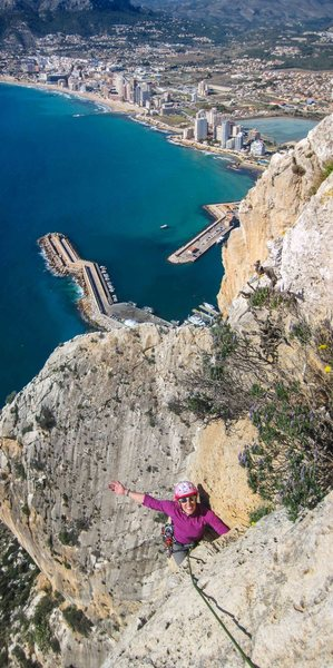Rock Climbing Photo: Liz Lightner on the last technical pitch of El Nav...