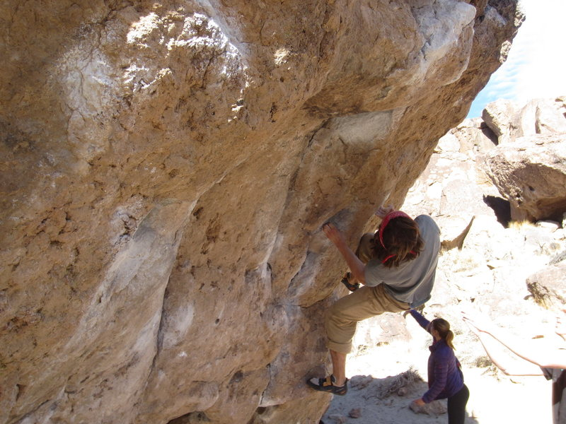 Toe hooking about to go for the cross to the loaf on 'The Hulk' v6 Bishop, CA
