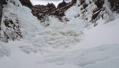 Amphitheater of ice at the top of Hidden Gully