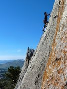 Rock Climbing Photo: High up on the route and well above the surroundin...