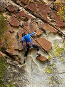 Rock Climbing Photo: After the dynamic start and heading up with the ki...