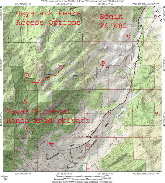MAP 1:  The 2 access ways for Haystack Peaks from Cottonwood Park Road.  The SW way is private and there is a nominal fee to cross private land.  It has been $5/day. The darker shaded green on the map designates private land and paying the fee includes camping on the private land of Oscar Pickerel & Sons.