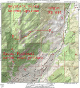 Rock Climbing Photo: MAP 1:  The 2 access ways for Haystack Peaks from ...