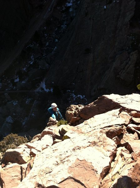 Rock Climbing Photo: Marie topping out on Recon.