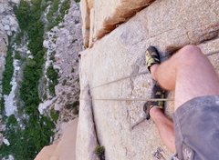 Rock Climbing Photo: Looking down from the top of pitch 3 on Rights of ...