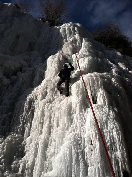 Chris Underwood climbing on the upper flow, 12/15/13.