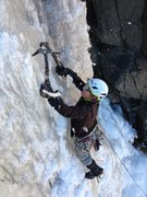 Rock Climbing Photo: Leading the right side of the lower flow, 1/18/14 ...
