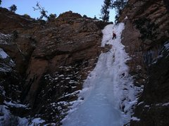 Rock Climbing Photo: Marie Brophy following the upper flow, 1/24/14.