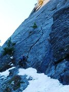 Rock Climbing Photo: The Rash route heads up the right-facing flake abo...
