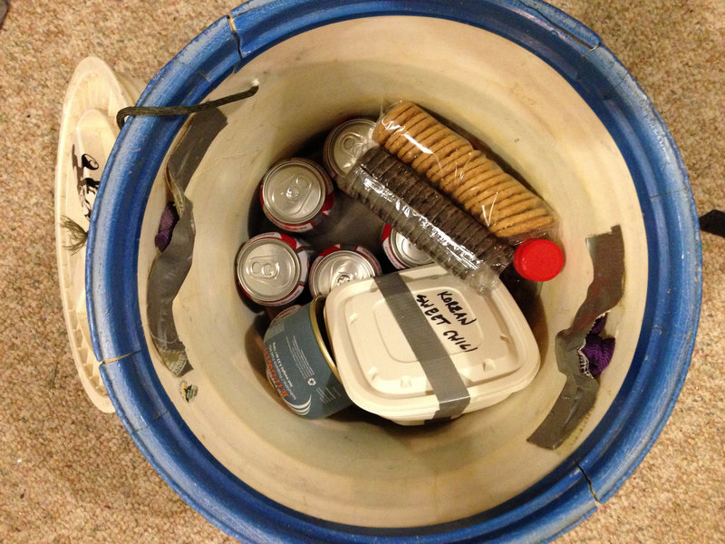 Rock Climbing Photo: Food bucket with some of the necessities. Beer, ci...