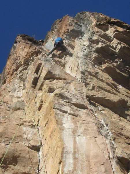 "Mike Benge on the new 5.11c finish out right (""Triceratops""), which makes this route even better - thanks, Dave Pegg!"