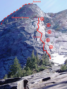 Rock Climbing Photo: Overview of Blueberry Buttress route - optional su...
