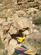 Rock Climbing Photo: Nick after he made the first move to the right han...