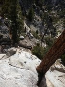Rock Climbing Photo: Looking down from the belay ledge. You could take ...