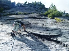 Rock Climbing Photo: Clean slab climbing on pitch 2 of Penny Lane.  The...