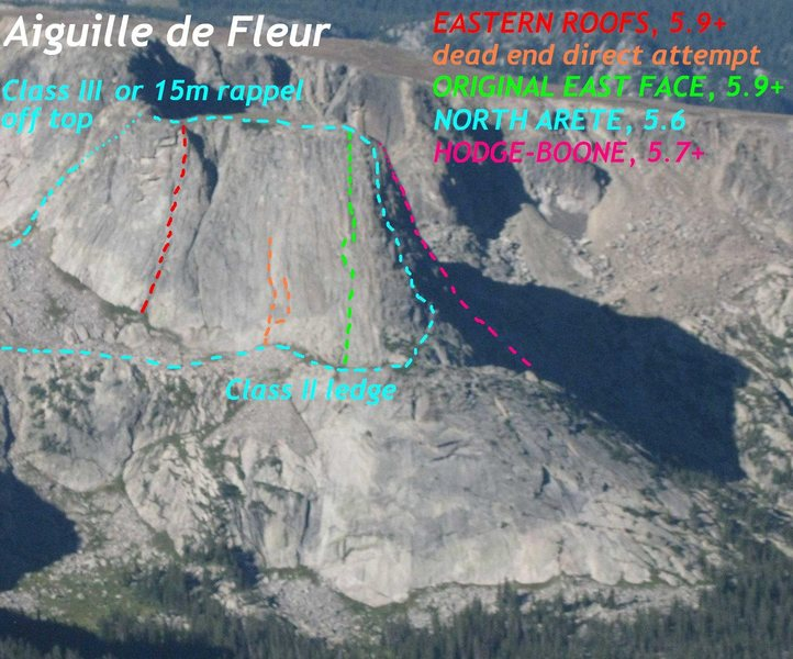 Aiguille de Fleur routes.<br> <br> Photo by Mountain Project contributor Bill Duncan.