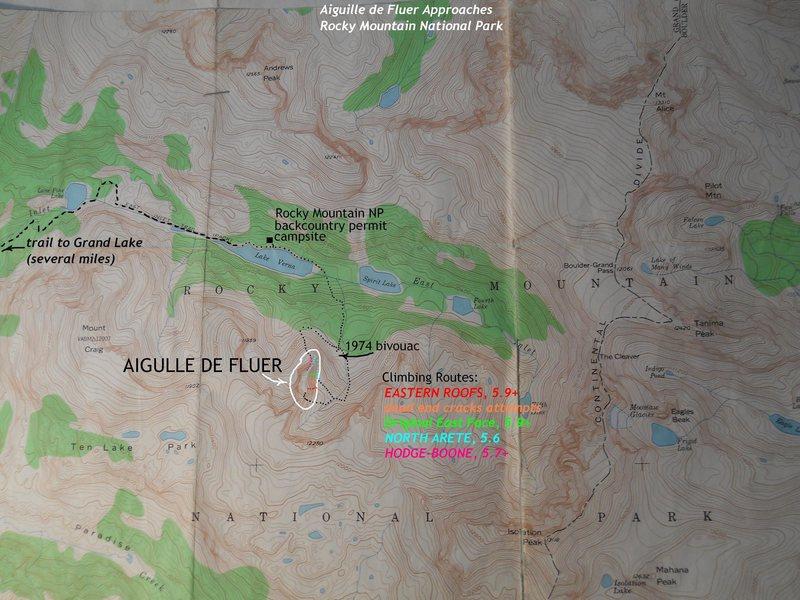 Aiguille de Fleur trails and routes.