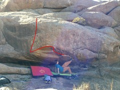 Rock Climbing Photo: Rhyan Brown trying some toe hook beta on the probl...