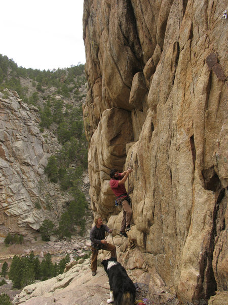 Rock Climbing Photo: The FA of Managing Tight Lips with leader Jeff Kar...
