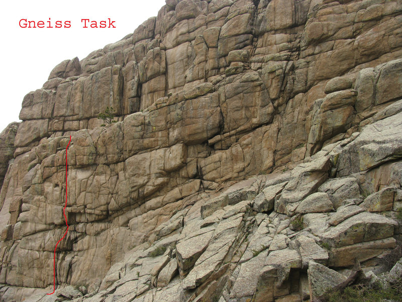 Rock Climbing Photo: The bulges of Gneiss Task offered.