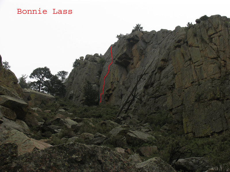 Location of Bonnie Lass on the black north facing wall of Gneiss Canyon.
