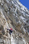Rock Climbing Photo: Prepping to clip, Seth Tart battles Satan's Alley.