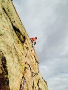 Rock Climbing Photo: Travis finding some exposure on pitch 4 of Anthill...