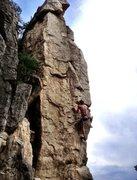 Rock Climbing Photo: Cruxing through the top section